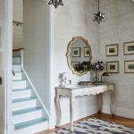 Entrance, Wooden Floor, Grey Wall, White Console Table, Star Pendants, Blue Rug, White Blue Stairs