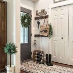 Entrance, Wooden Floor, White Wall, Wooden Board For Hook, White Door, Grey Door, White Patterned Rug