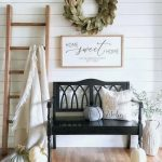 Entryway, Wooden Floor, White Shiplap, Black Wooden Bench, Wooden Rack