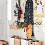 Entryway, Wooden Floor, White Wall, Rattan Baskets, Wooden Rod, Floating Filing Sheles,