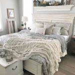 Farmhouse Bedroom, Wooden Floor, White Headboard, White Platform, White Wall, White Wooden Chest, White Traditional Shelves