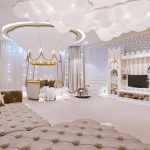 Kids Room, Cream Floor, White Ceiling, White Cloud LED Lights, Brown Tufted, Pink White Entertainment Cabinet