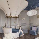 Kids Room, Wooden Chevron Floor, Grey Wainscoting, White Air Balloon, Dark Blue Ceiling, White Round Bed With Blue Cushion, Blue Chair, Wihte Cloud