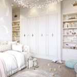 Kids Room, Wooden Chevron Floor, White Built In Upboard And Shelves, White Bed, Crystal Pendant, Round Rug