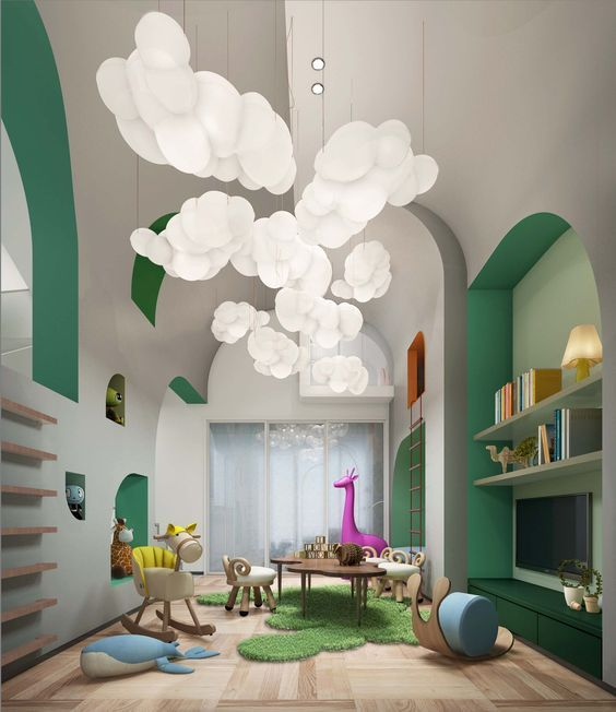 kids room, wooden floor, grey wall, green accents on deep wall, green bench, green shelves, white cloud pendants, tables, toys