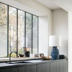 Kitchen, Black Bottom Cabinet, White Wall, Black Counter Top, Large Glass Window