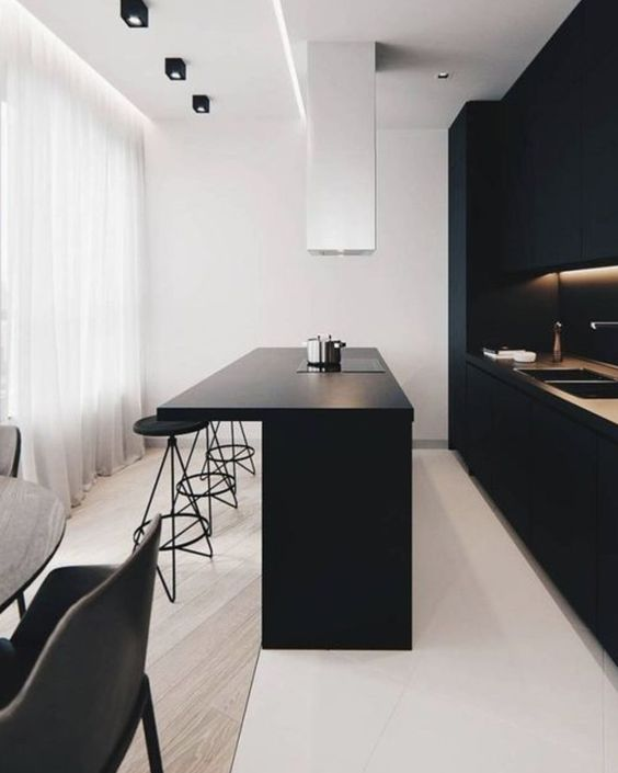 kitchen, black island, black stools, black cabinet, white wall, black chairs, wooden floor, white floor tiles