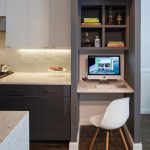 Kitchen, Dark Wooden Floor, White Upper Cabinet, Grey Cabinet, Marble Counter Top, Marble Floating Table, Grey Shelves, White Modern