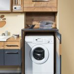 Kitchen, Grey Floor Tiles, Yellow Walk, Floating Wooden Bottom Cabinet, Floating Upper Cabinet, Laundry Machine