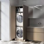 Kitchen, Hexagonal Floor Tiles With Flower Pattern, Brown Bottom Cabinet, Brown Cupboard, Silver Upper Cabinet