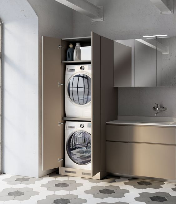 kitchen, hexagonal floor tiles with flower pattern, brown bottom cabinet, brown cupboard, silver upper cabinet