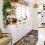 Kitchen, White Floor, White Wall, White Cabinet, Brown Wooden Shelves, Wooden Counter Top, Rattan Pendant