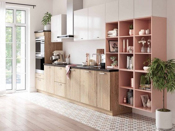 kitchen, white wall, white upper cabinet, wooden bottom cabinet, pink corner shelves, wooden floor