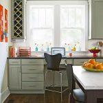Kitchen, Wooden Floor, Mint Green Cabinet, Dark Counter Top, White Counter Top