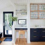Kitchen, Wooden Floor, Navy Bottom Cabinet, White Vertical Shiplap, White Floating Shelves, White Floating Table, Wooden Stool, White Ceiling