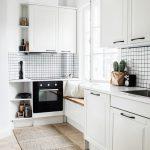 Kitchen, Wooden Floor, White Cabinet, White Black Backsplash, Window Seat