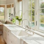 Kitchen, Wooden Floor, White Cabinet, White Marble Top, Glass Windows On The Wall