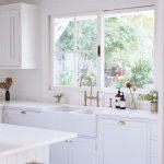Kitchen, Wooden Floor, White Cabinet, White Wall, White Wooden Ceiling, White Wooden Island, White Upper Cabinet