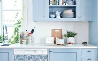 kitchen, wooden floor, white wall, blue cabinet, white counter top