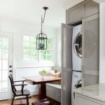 Kitchen, Wooden Floor, White Wall, Grey Cabinet, Marble Top, Wooden Square Table, Grey Bench, Wooden Chair, See Through Cabinet