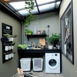Laundry Room, Mint Green Wall, White Machine, Ceiling Window, Black Floating Table, Black Board