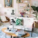 Living Room, Blue Rug, Wooden Coffee Table, Pink Wall, White Sofa, Wooden Chair, Golden Shelves