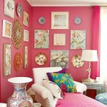 Living Room, Pink Wall, White Leather Lounge Chair, White Table Lamp, Paintings, White Side Table