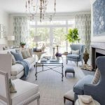 Living Room, Rug Floor, White Wall, White Sofa, White Chair, Blue Chairs, Classic Coffee Table With Glass Top, Chandelier, Blue Wallpaper