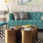 Living Room, Striped Black White, Green Tufted Sofa, Green Stools, Golden Stools, White Wall With Golden Flocks