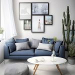 Living Room, White Floor, White Rug, White Round Modern Coffee Table, Blue Sofa, Grey Ottoman