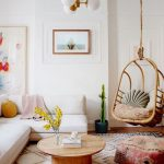 Living Room, Wooden Floor, White Wall, White Sofa, Round Wooden Coffee Table, Rattan Swing, White Pendant