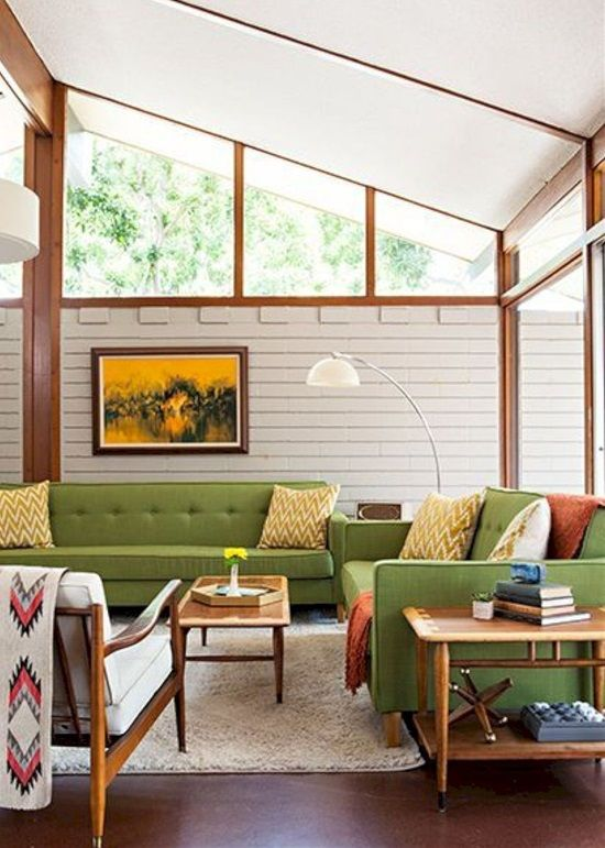 living room, wooden wall, white plank wall, green sofas, white chair, white floor lamps, wooden side table