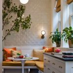 Nook, Dark Wooden Floor, White Floating Bench, Yellow Cushion, White Wall, White Bulb Pendant, White Cabinet