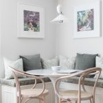 Nook, Wooden Floor, White Wall, White Pendant, Wooden Chairs, Grey Cushion, Grey Pillows