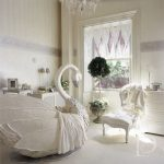Nursery, White Floor, Wallpaper, White Purple Curtain, White Swan Crib, White Chair, White Cabinet