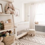 Nursery, White Wall, Off Shite Rug, White Ruf, Wooden Rack, White Curtain