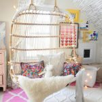 Rattan Swing, Bedroom, White Pink Rug, White Wall,