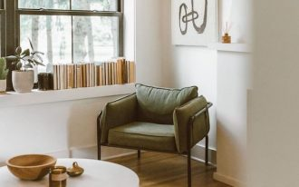 reading corner, wooden floor, white wall, glass window, bookshelves on window sill, white round table