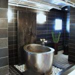 Silver Metal Roun Soaking Tub, Black Square Floor Tiles, Black Subway Wall Tiles, Black Marble, White Stones, White Marble