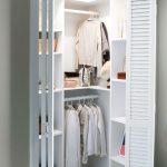 Small Closet, Brown Floor, White Sliding Wooden Door, White Shelves, Row