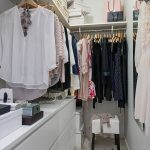 Small Closet, Cream Floor, Light Grey Cabinet, Rod, Shelves