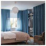 Small Closet, White Nook, Shelves, Rod, Blue Curtain, Wooden Flor, White Luncheon, Brown And White Bed, Grey Rug, Rattan Curtain