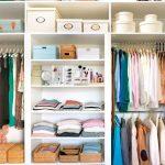 Small Closet, White Shelves, Rod, Woden Floor