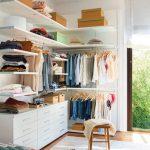 Small Closet, Wooden Floor, White Shelves, White Cabinet, Rod