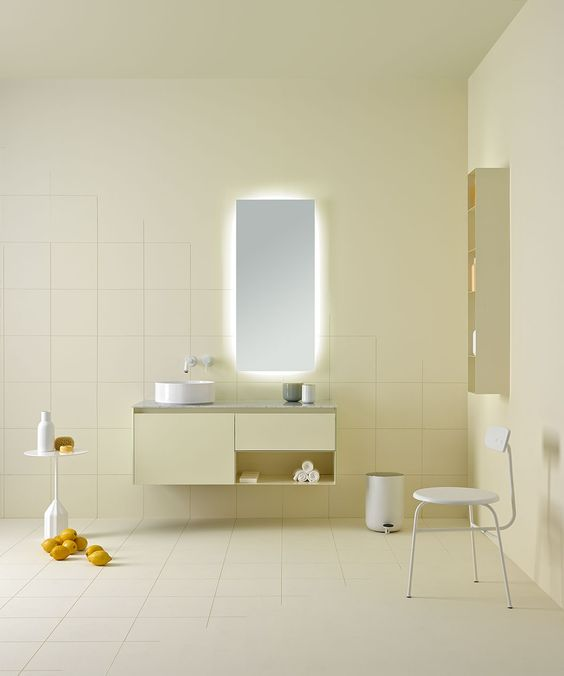 soft lime wall, floor, floating cabinet, mirror with LED on the back, floating rack, white chair