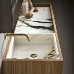 White Marble Sink And Vanity Counter Top, Wooden Cabinet, Golden Sink, Black Mirror