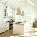 White Vaulted Ceiling, White Wooden Beams, White Pendants, White Cabinet, White Island, Wooden Floor
