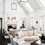 White Wooden Vaulted Ceiling, White Wall, Black Wooden Floor, White Cream Sofa, Glass Cube Pendant