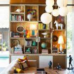 Wooden Bookshelves, Sliding Doors, White Round Pendant, Wooden Ceiling, White Sofa, Wooden Coffee Table