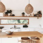 Wooden Floating Shelves, White Wall, White Bottom Cabinet, Wooden Island, Wooden Stools, Rattan Pendant